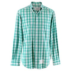 Thom Browne Green & White Checked Cotton Shirt - Size Large - Size 3