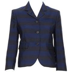 THOM BROWNE navy blue black stripe silk cotton 3-button fitted blazer jacket XS