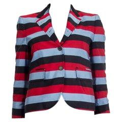 THOM BROWNE red blue black silk & cotton STRIPED Blazer Jacket 1 S