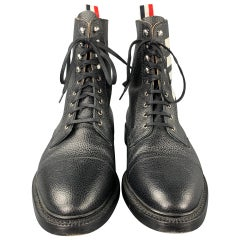 THOM BROWNE Size 10 Black Pebble Grain Leather Lace Up Ankle Boots