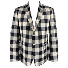 THOM BROWNE Size 40 Regular Black & Beige Checkered Wool Blend Sport Coat