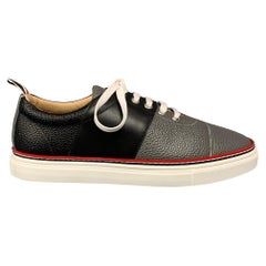 THOM BROWNE Size 6 Grey & Black Color Block Leather Cap Trainer Sneakers
