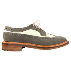 THOM BROWNE Size 9.5 Grey & White Two Toned Suede Wingtip Lace Up Shoes