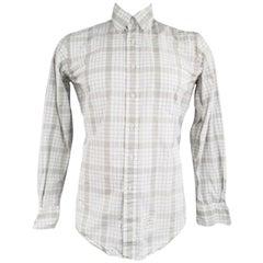 THOM BROWNE Size L Light Gray Cotton Long Sleeve Plaid Pattern Shirt