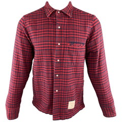THOM BROWNE Size M Red & Navy Plaid Cotton Shirt Jacket Long Sleeve Shirt