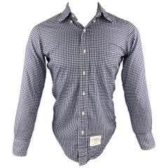 THOM BROWNE Size S / 1 White & Blue Gingham Cotton Long Sleeve Shirt