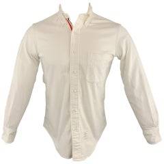 THOM BROWNE Size S White Solid Corduroy Button Down Long Sleeve Shirt