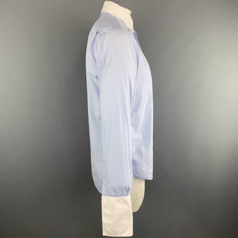 Men's THOM BROWNE Size XL Light Blue Solid Cotton French Cuff Long Sleeve Shirt For Sale