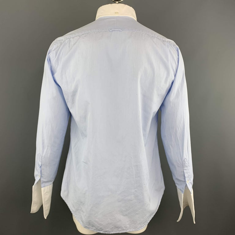 THOM BROWNE Size XL Light Blue Solid Cotton French Cuff Long Sleeve Shirt For Sale 1