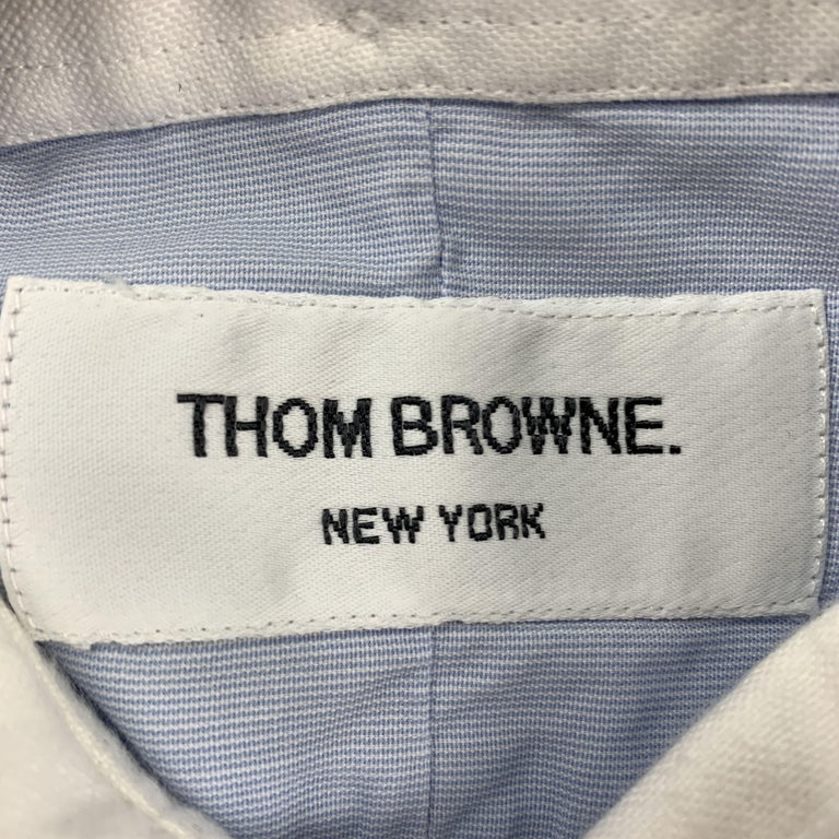 THOM BROWNE Size XL Light Blue Solid Cotton French Cuff Long Sleeve Shirt For Sale 2