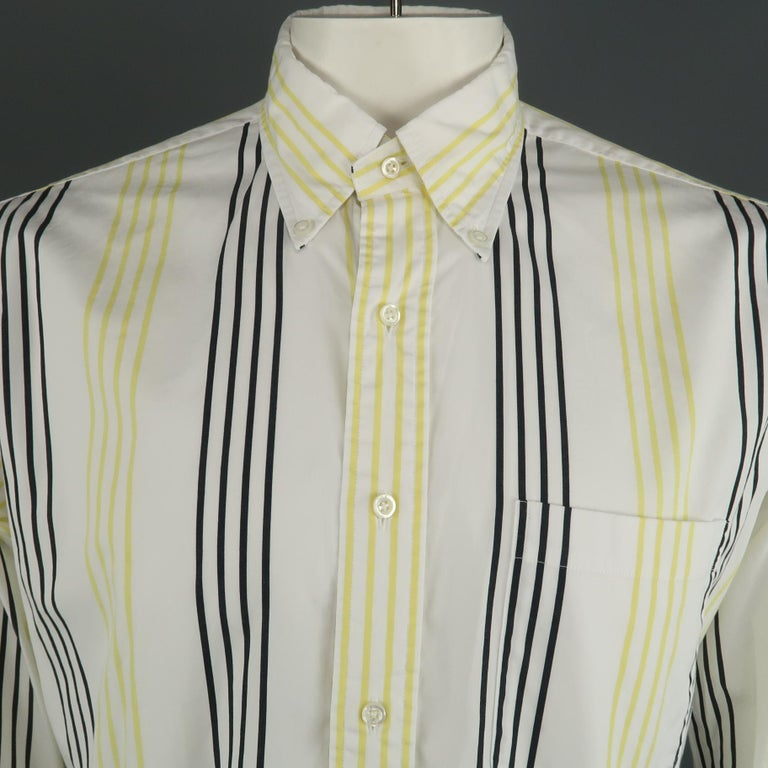 THOM BROWNE long sleeve shirt comes in a white and black striped cotton featuring a classic button down collar and a front patch pocket. Made in USA.   Excellent Pre-Owned Condition. Marked: 5   Measurements:   Shoulder: 18 in. Chest: 48 in. Sleeve:
