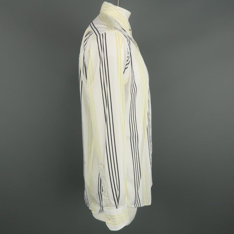 Beige  THOM BROWNE Size XL White & Black & Yellow Stripe Cotton Long Sleeve Shirt For Sale