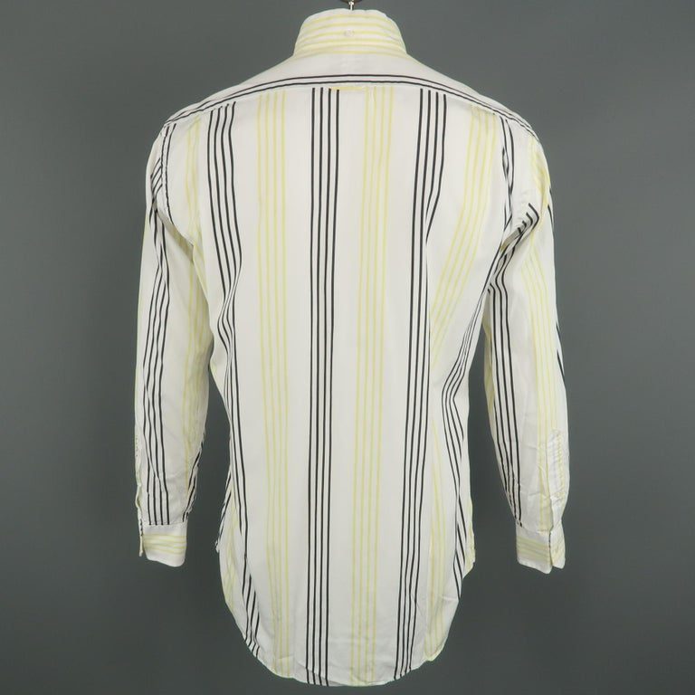 THOM BROWNE Size XL White & Black & Yellow Stripe Cotton Long Sleeve Shirt In Excellent Condition For Sale In San Francisco, CA