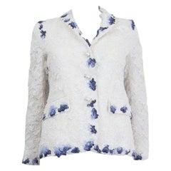 THOM BROWNE white & blue cotton & rayon LACE Blazer Jacket 1 S