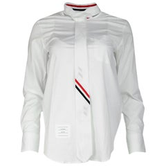 Thom Browne White Cotton Tie-Neck Striped Detail Poplin Button Up Shirt Sz 0