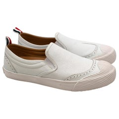 Thom Browne White Leather Slip-on Brogue Trainers - Size 41.5 EU