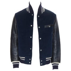 THOM GREY THOM BROWNE navy blue black leather sleeve varsity bomber jacket M