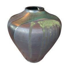 Thom Lussier Ceramic Vase with Green and Metallic Black Glaze