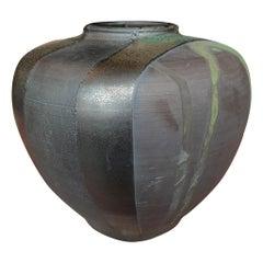 Thom Lussier Green and Metallic Black Ceramic Pot