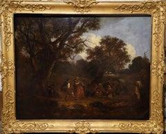 Dancers in a Landscape - British 19thC art figurative landscape oil painting