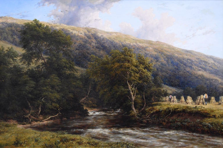 19th Century landscape oil painting of a Derbyshire River - Painting by Thomas Baker of Leamington