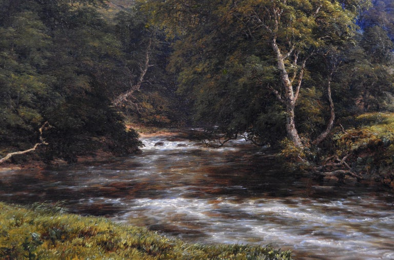19th Century landscape oil painting of a Derbyshire River For Sale 1