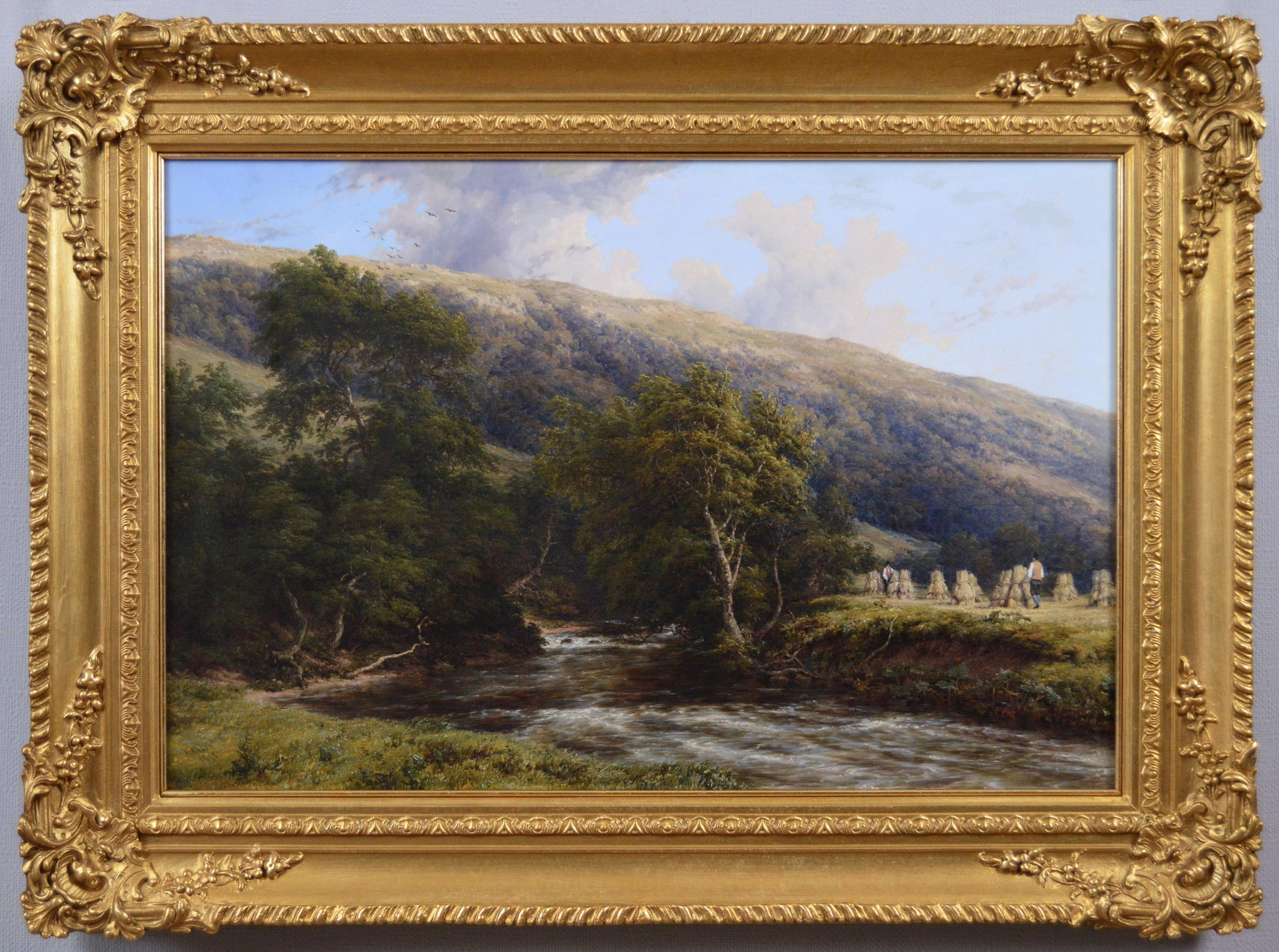 19th Century landscape oil painting of a Derbyshire River