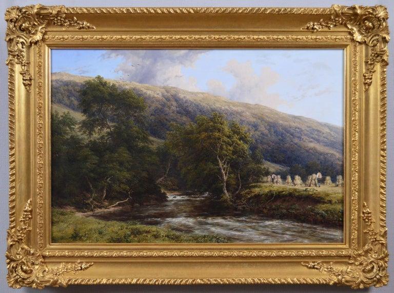 Thomas Baker of Leamington Landscape Painting - 19th Century landscape oil painting of a Derbyshire River