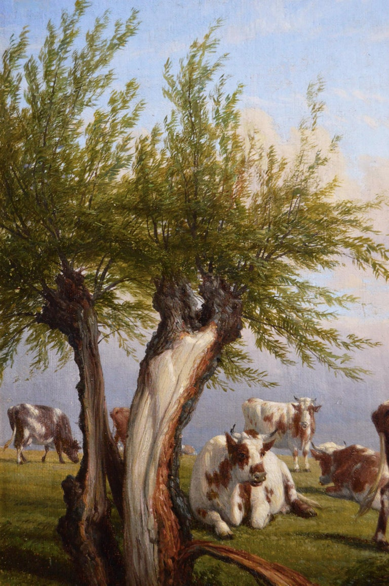 19th Century landscape oil painting of cattle - Victorian Painting by Thomas Baker of Leamington