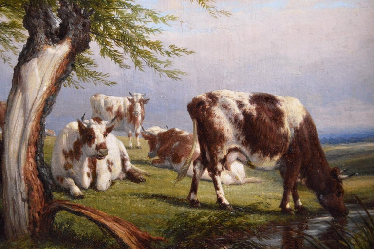 19th Century landscape oil painting of cattle - Brown Landscape Painting by Thomas Baker of Leamington