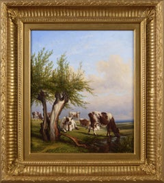 19th Century landscape oil painting of cattle