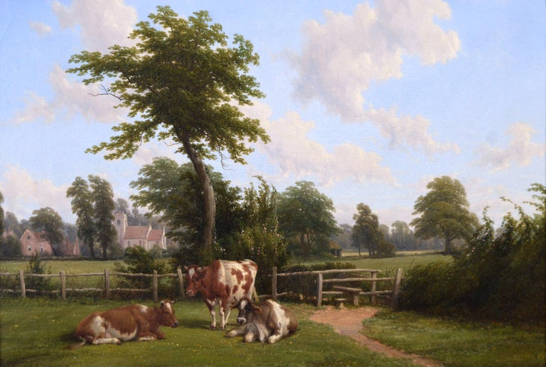 19th Century landscape oil painting of cattle near a church - Painting by Thomas Baker of Leamington
