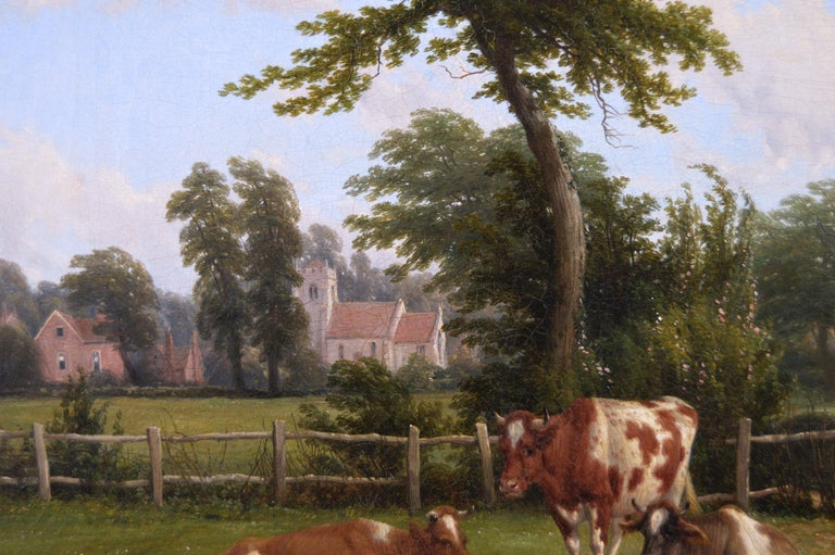 19th Century landscape oil painting of cattle near a church - Victorian Painting by Thomas Baker of Leamington