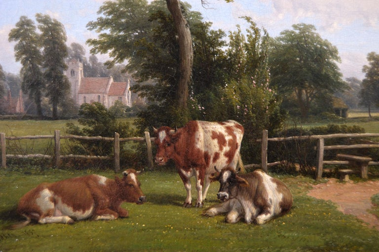 19th Century landscape oil painting of cattle near a church - Brown Landscape Painting by Thomas Baker of Leamington