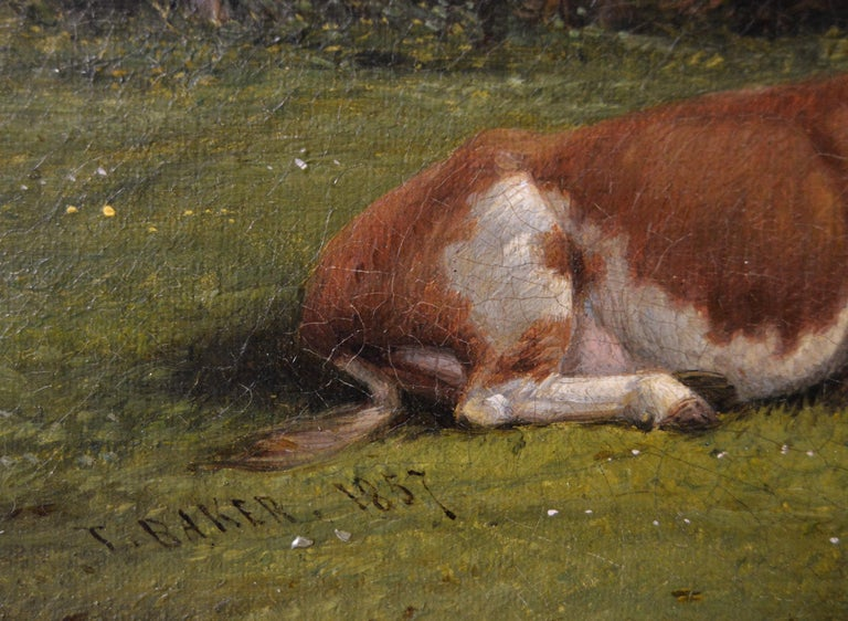 19th Century landscape oil painting of cattle near a church For Sale 1
