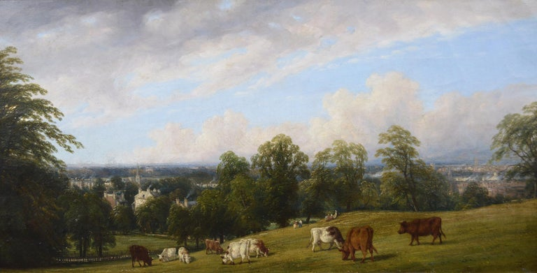19th Century landscape oil painting of cattle on a hill - Painting by Thomas Baker of Leamington