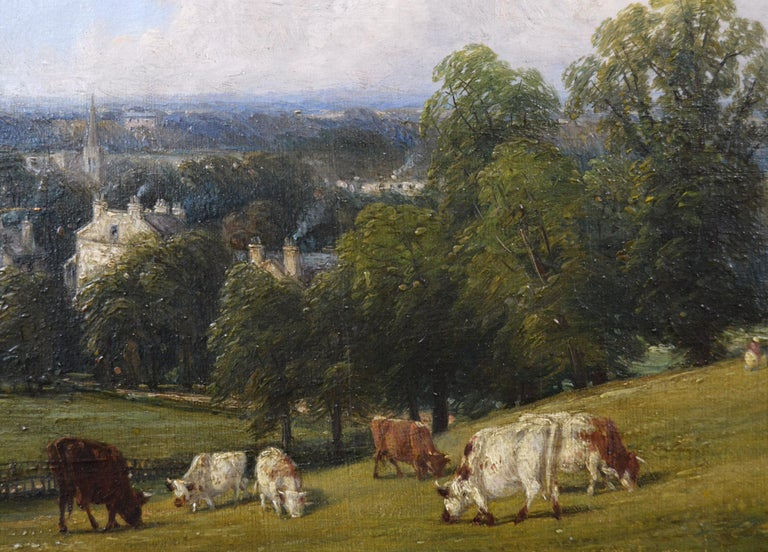19th Century landscape oil painting of cattle on a hill - Victorian Painting by Thomas Baker of Leamington