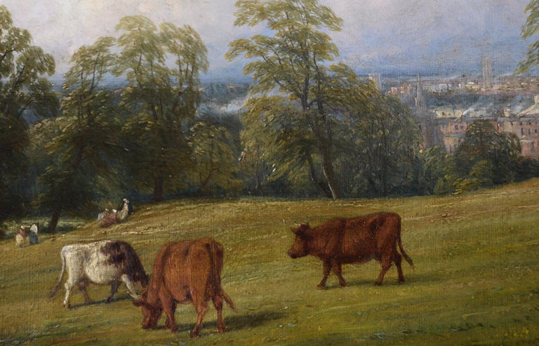 19th Century landscape oil painting of cattle on a hill - Brown Landscape Painting by Thomas Baker of Leamington
