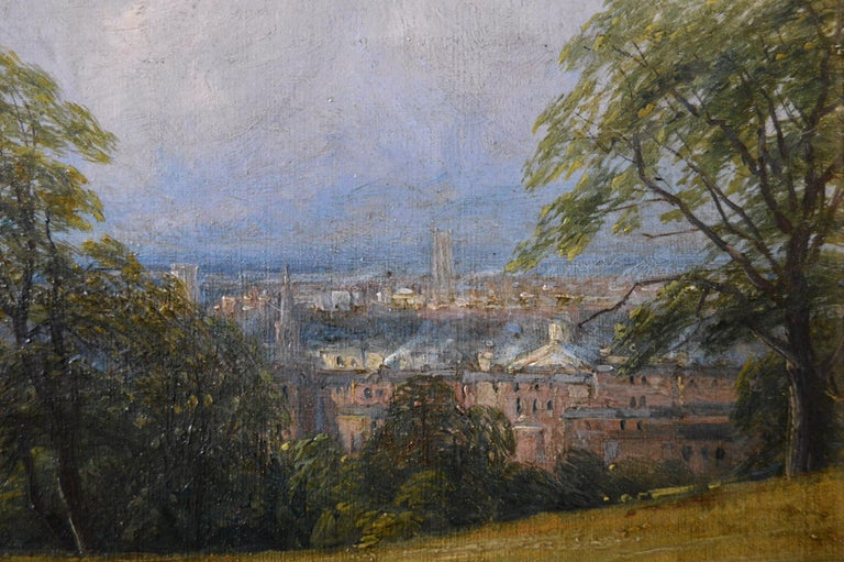 Thomas Baker  British, (1809-1864) View from Newbold Hill Oil on canvas, signed & dated 1860 Image size: 8.75 inches x 17.25 inches  Size including frame: 13.5 inches x 22 inches Provenance: Details of this painting & a sketch are listed in the