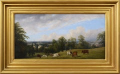 19th Century landscape oil painting of cattle on a hill
