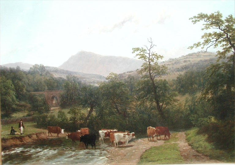 Cattle Watering - Painting by Thomas Baker of Leamington