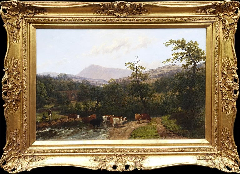 Thomas Baker of Leamington Landscape Painting - Cattle Watering