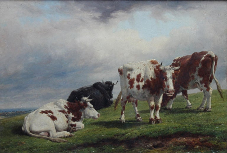 Deer Park Landscape with Cattle - British art mid 19th century oil painting  For Sale 5