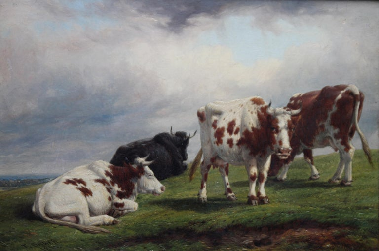 Deer Park Landscape with Cattle - British art mid 19th century oil painting  - Realist Painting by Thomas Baker of Leamington