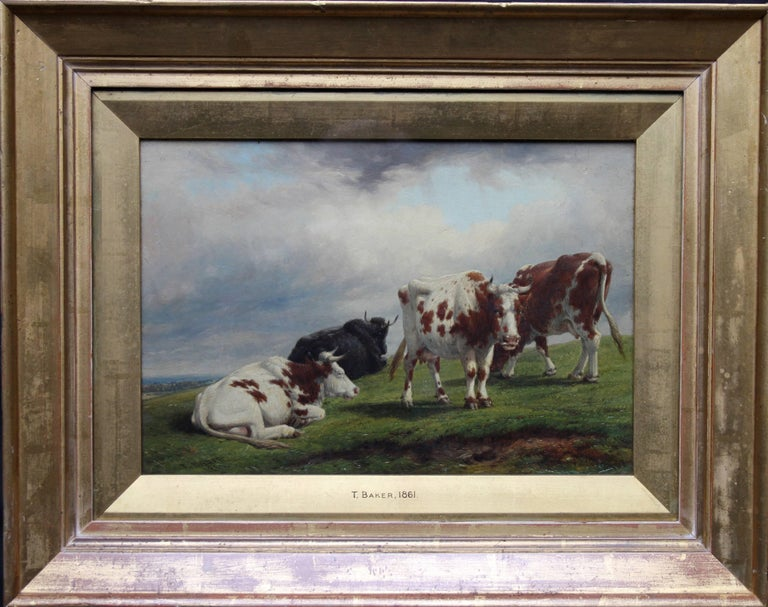 Thomas Baker of Leamington Landscape Painting - Deer Park Landscape with Cattle - British art mid 19th century oil painting