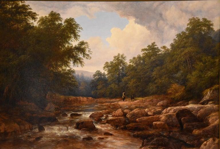 "Thomas Baker of Leamington Landscape Painting - Oil Painting by Thomas Baker ""On the Usk"""