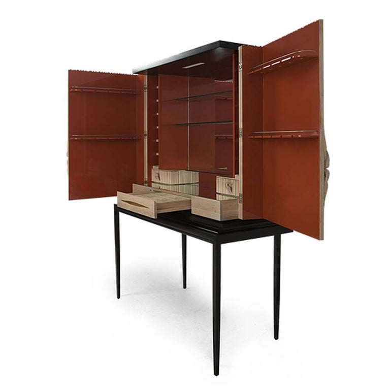 Contemporary Thomas Bar in Solid Mahogany Wood and Coral Lacquered Inside For Sale