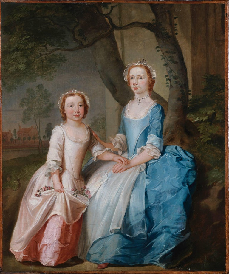 Thomas Bardwell Portrait Painting - A portrait of two sisters sitting on a wooded bank with a view of a country hous