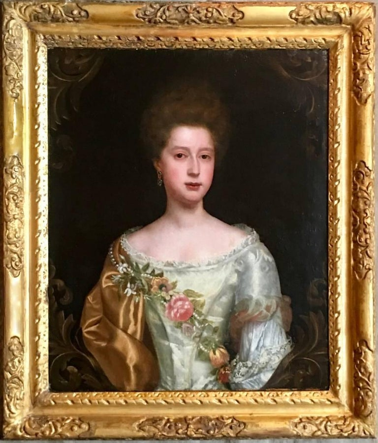Portrait of a Lady with Pearl and Flower Garland, Attributed to Thomas Bardwell For Sale 1
