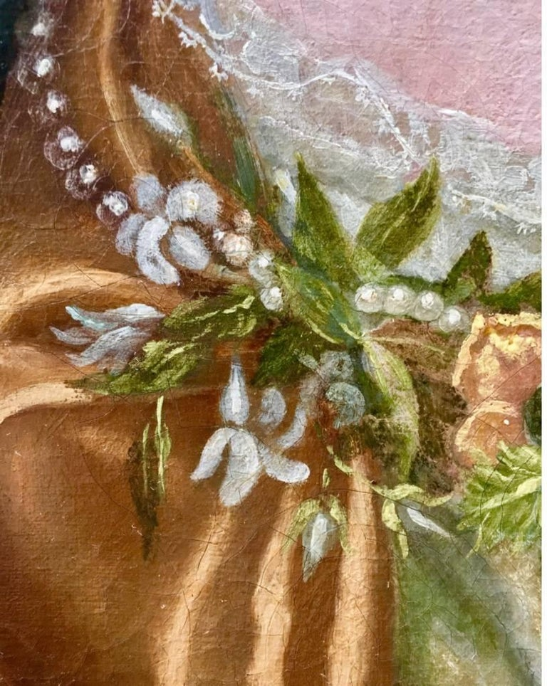 17th Century English Portrait of a Lady with Pearl and Flower Garland. For Sale 1